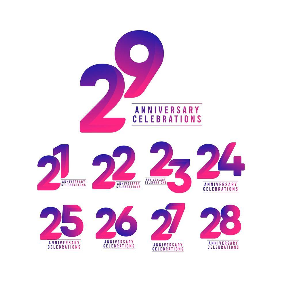 29 jaar jubileumvieringen vector sjabloon ontwerp illustratie