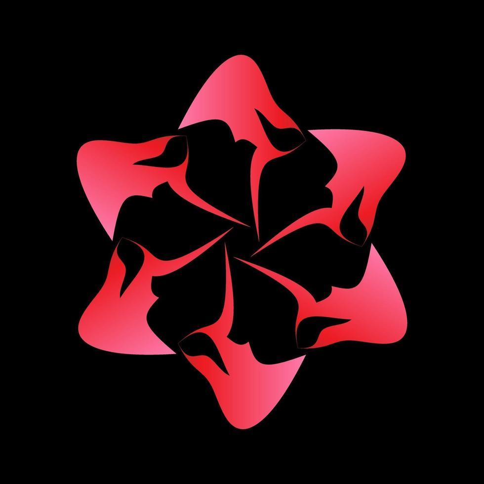 fractal ster symbool verpakt in roze vector