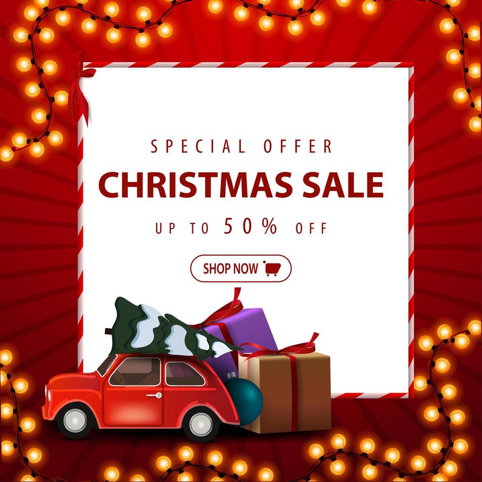 speciale aanbieding, kerstuitverkoop, tot 50 korting. rode vierkante kortingsbanner met Kerstmisslinger, Witboekblad en auto met kerstboom vector