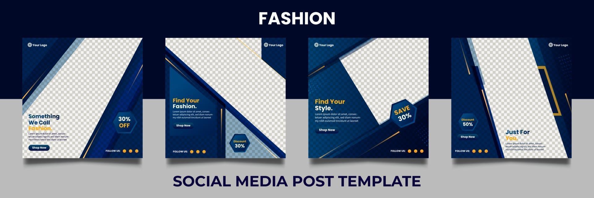 mode verkoop sociale media post-sjablonen. verkoop- en kortingsachtergronden. vector illustratie.