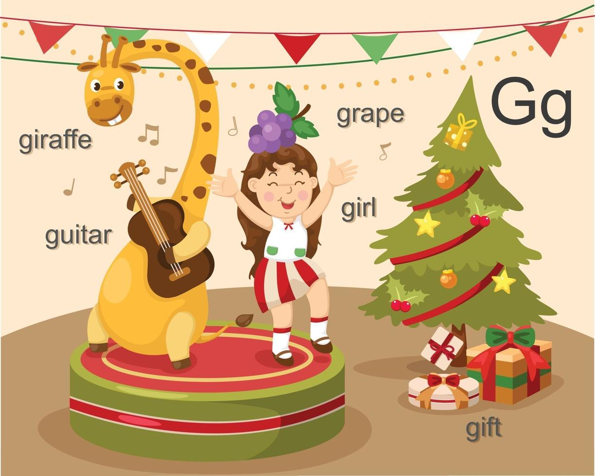 alfabet g brief giraf, gitaar, meisje, druif, cadeau. vector