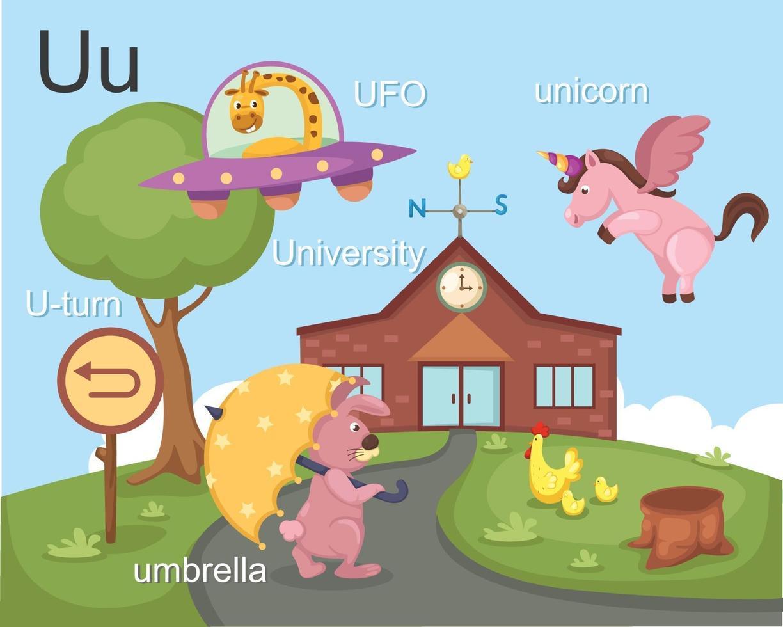 alfabet u letter ufo, u-bocht, paraplu, universiteit, eenhoorn vector