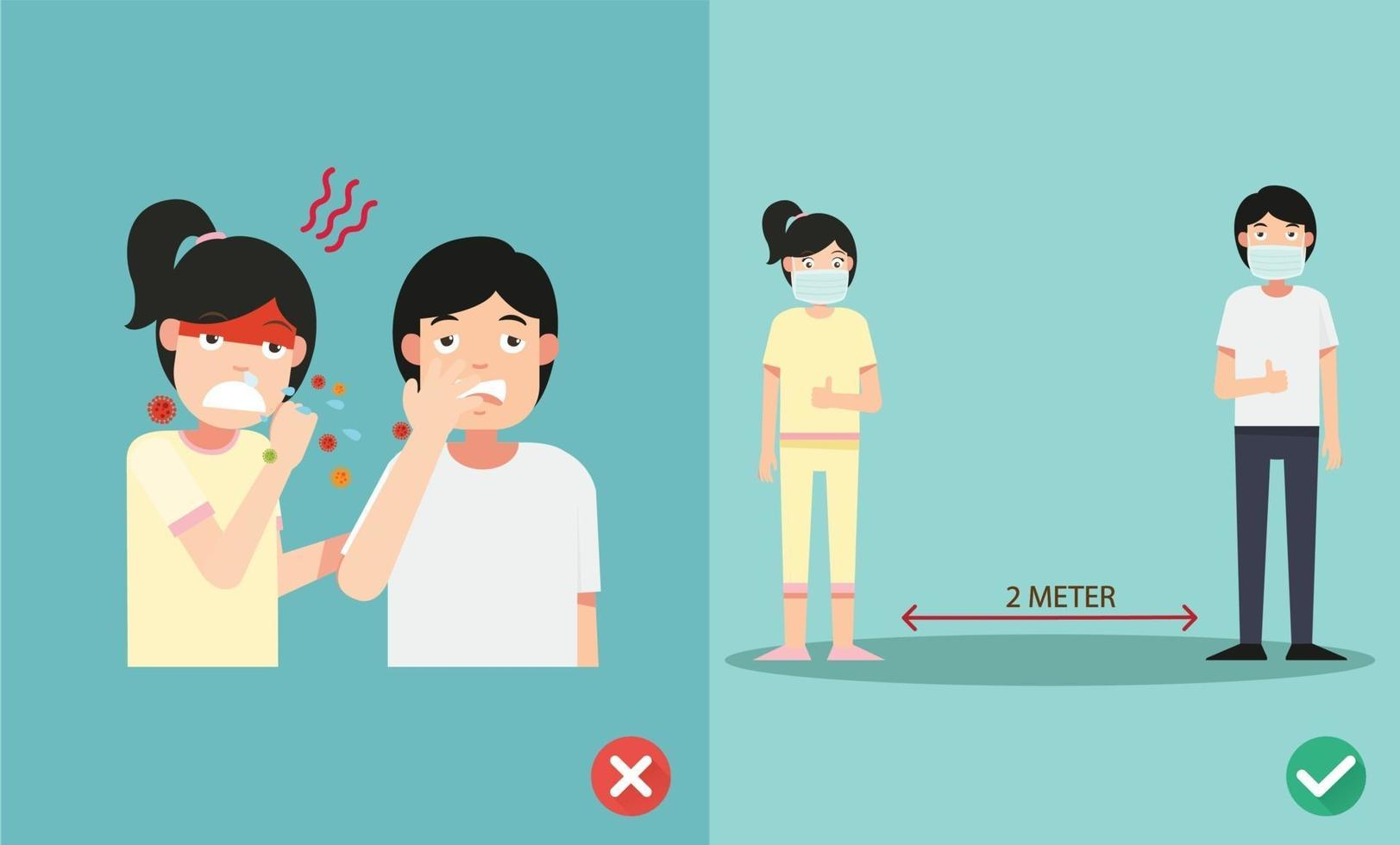 goede en foute manieren om de griep te beschermen bij niezen, het dragen van het masker om de infectie te voorkomen vector