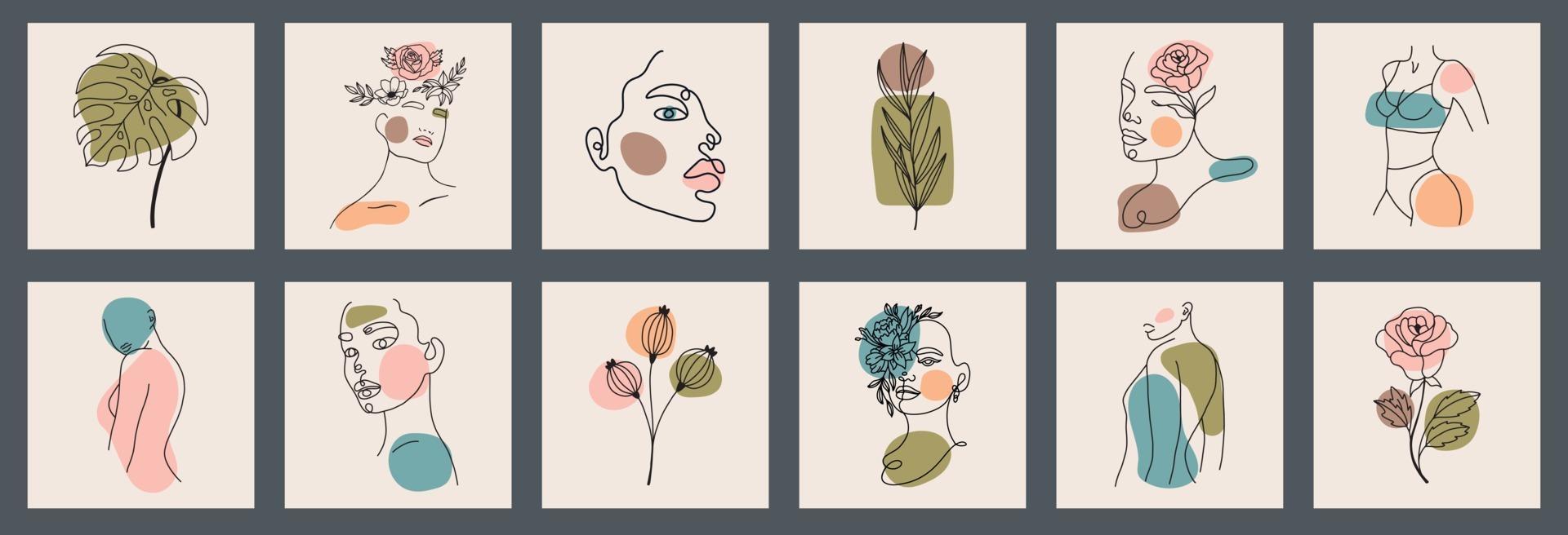 grote achtergrondreeks gezichten, bladeren, bloemen, abstracte vormen. inkt schilderstijl. hedendaagse hand getrokken vectorillustraties. doorlopende lijn, minimalistisch elegant concept alle elementen zijn geïsoleerd vector