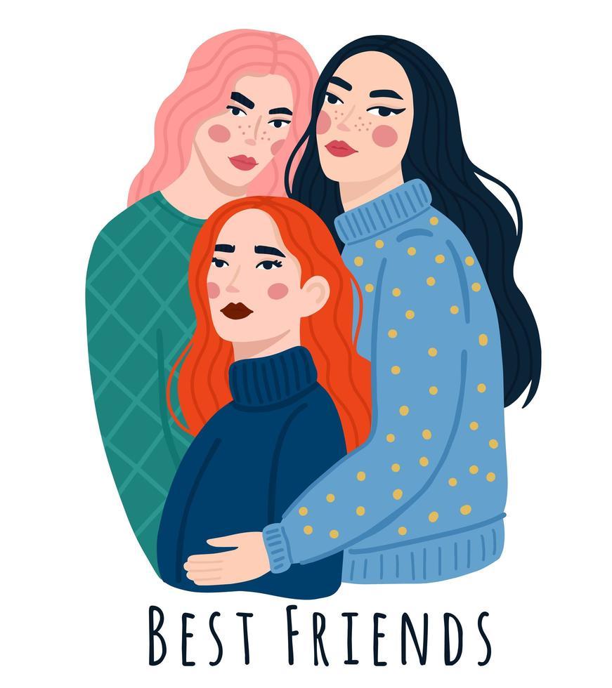 drie jonge meisjes staan, knuffelen en glimlachen vector