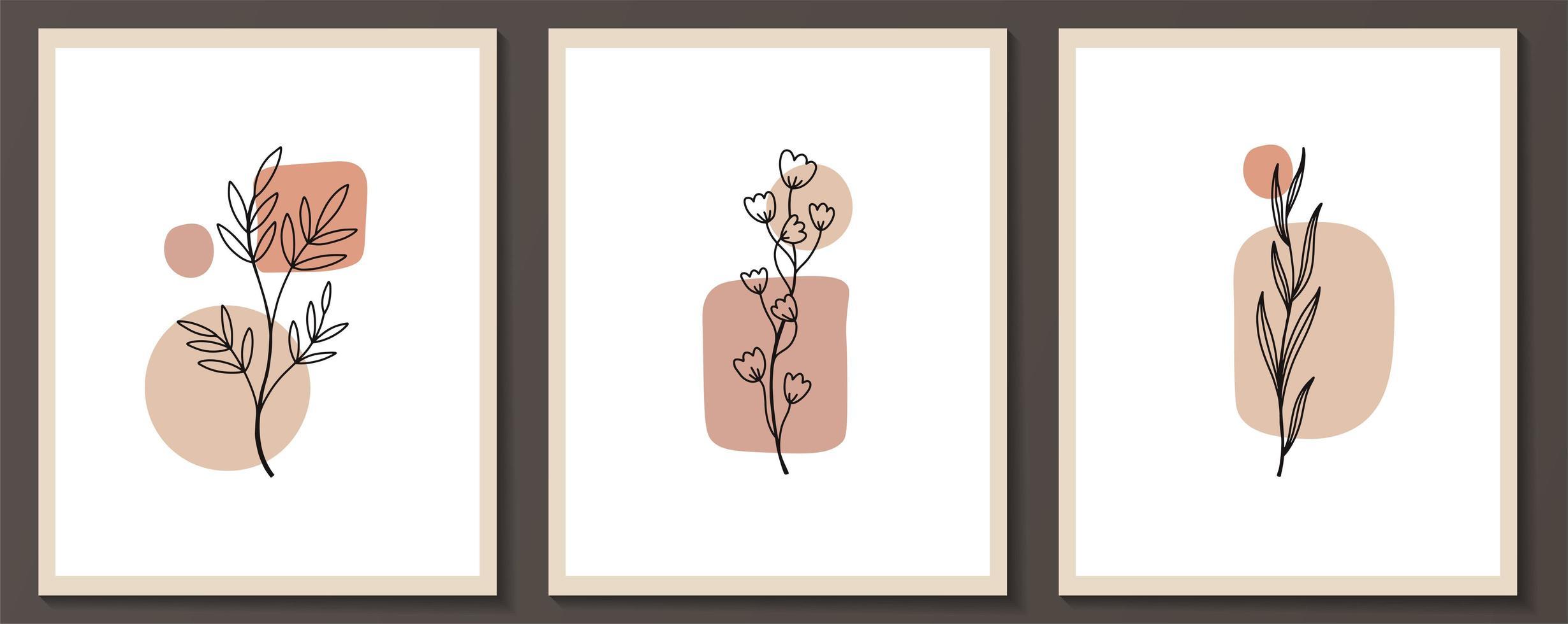set van bloemen doorlopende lijntekeningen vector