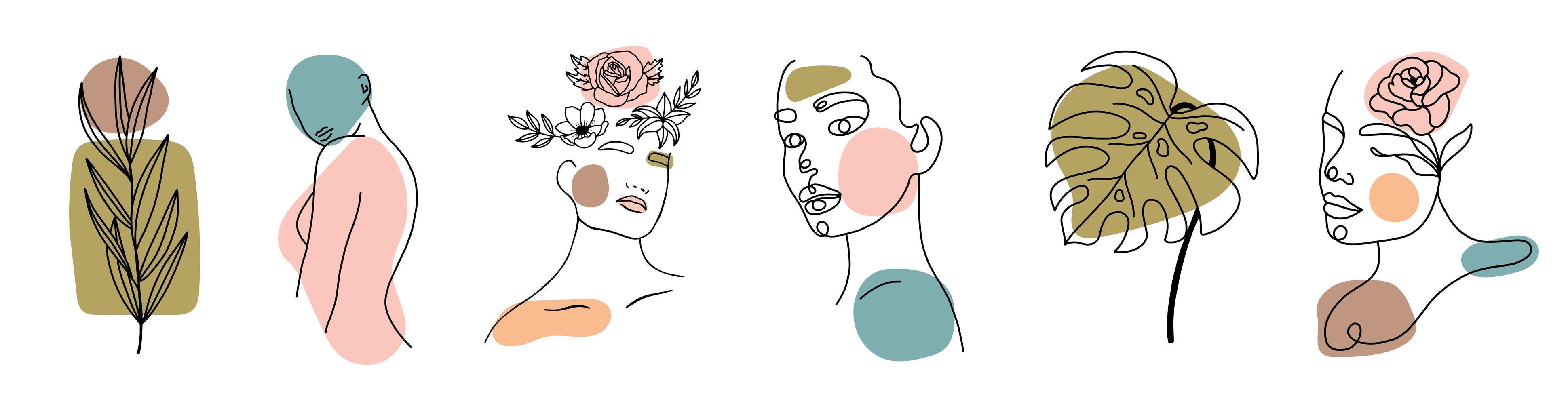 verschillende gezichten, bladeren en lichaam, abstracte vormen vector
