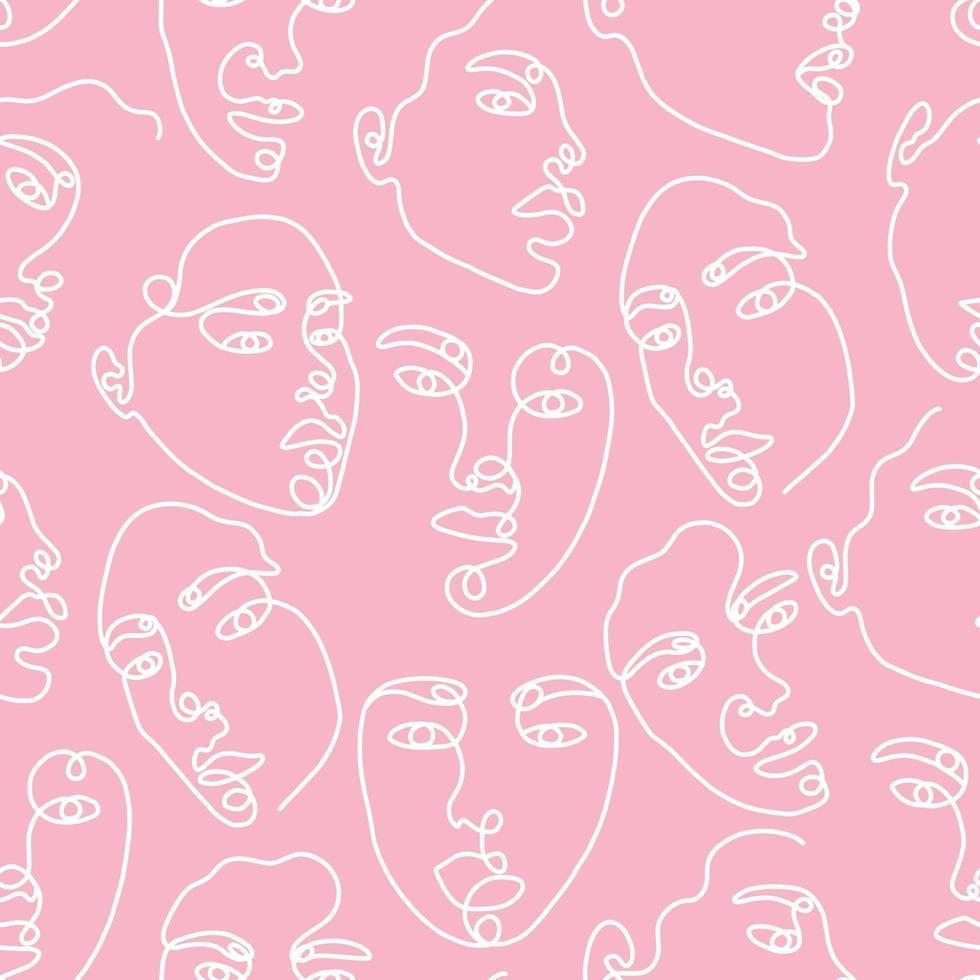 een lijntekening abstract gezicht naadloze patroon. moderne minimalistische kunst, esthetische contour. doorlopende lijn achtergrond met vrouw en man gezichten. vector groep mensen