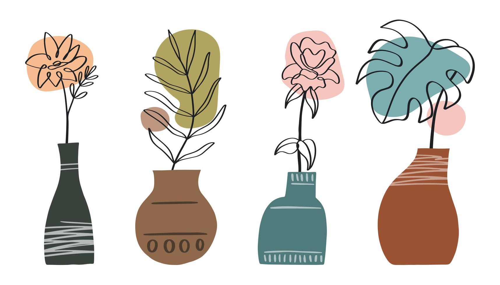 abstracte lijnkunstcollectie met vazen en bloemen, bladeren vector