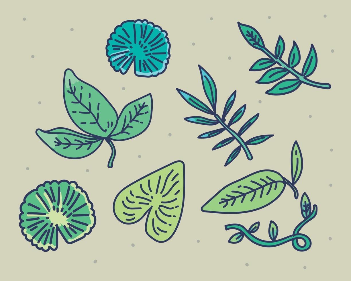 vector designer bladelementen in hand getrokken doodle stijl
