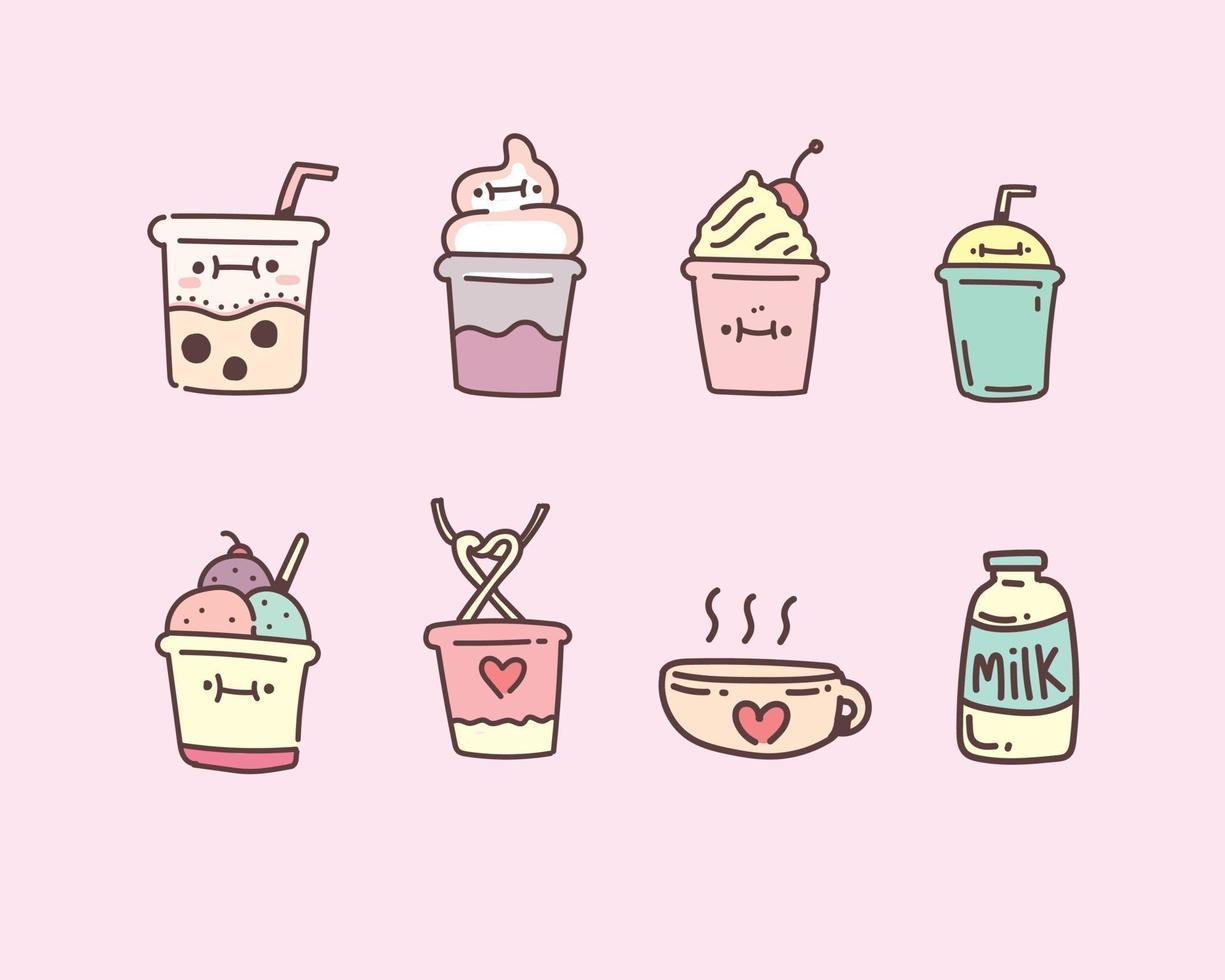 bubble milk tea set in hand getrokken doodle stijl vector