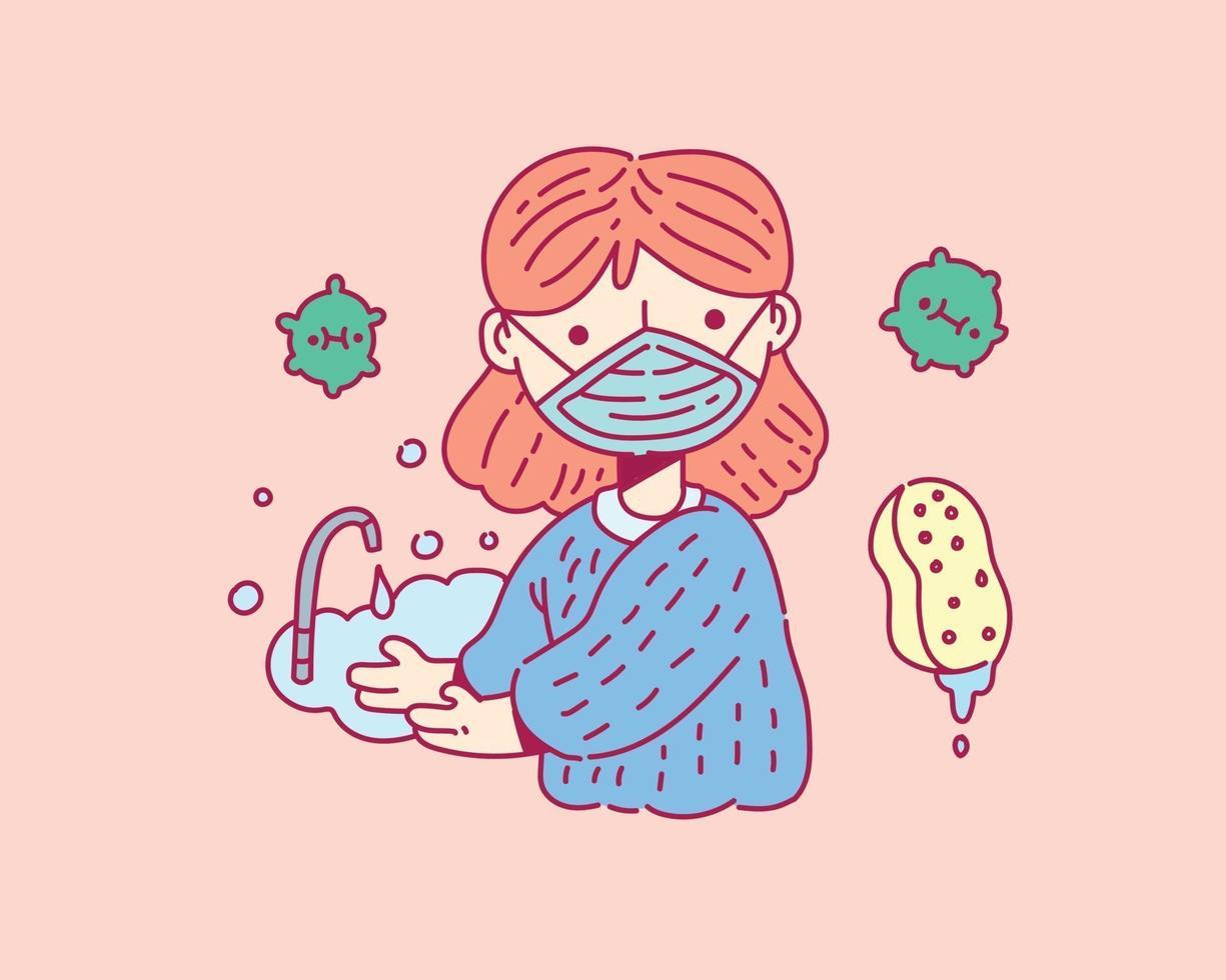 handen wassen met zeep, covid19 concept in doodle stijl vector