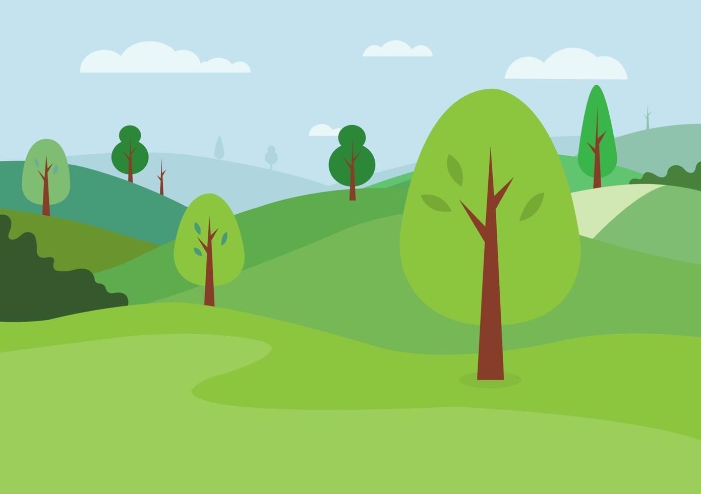 natuur landschap achtergrond vector. natuurlijke groene heuvels en hemelachtergrond. weidescène met bomen. groen park met wolken. vector