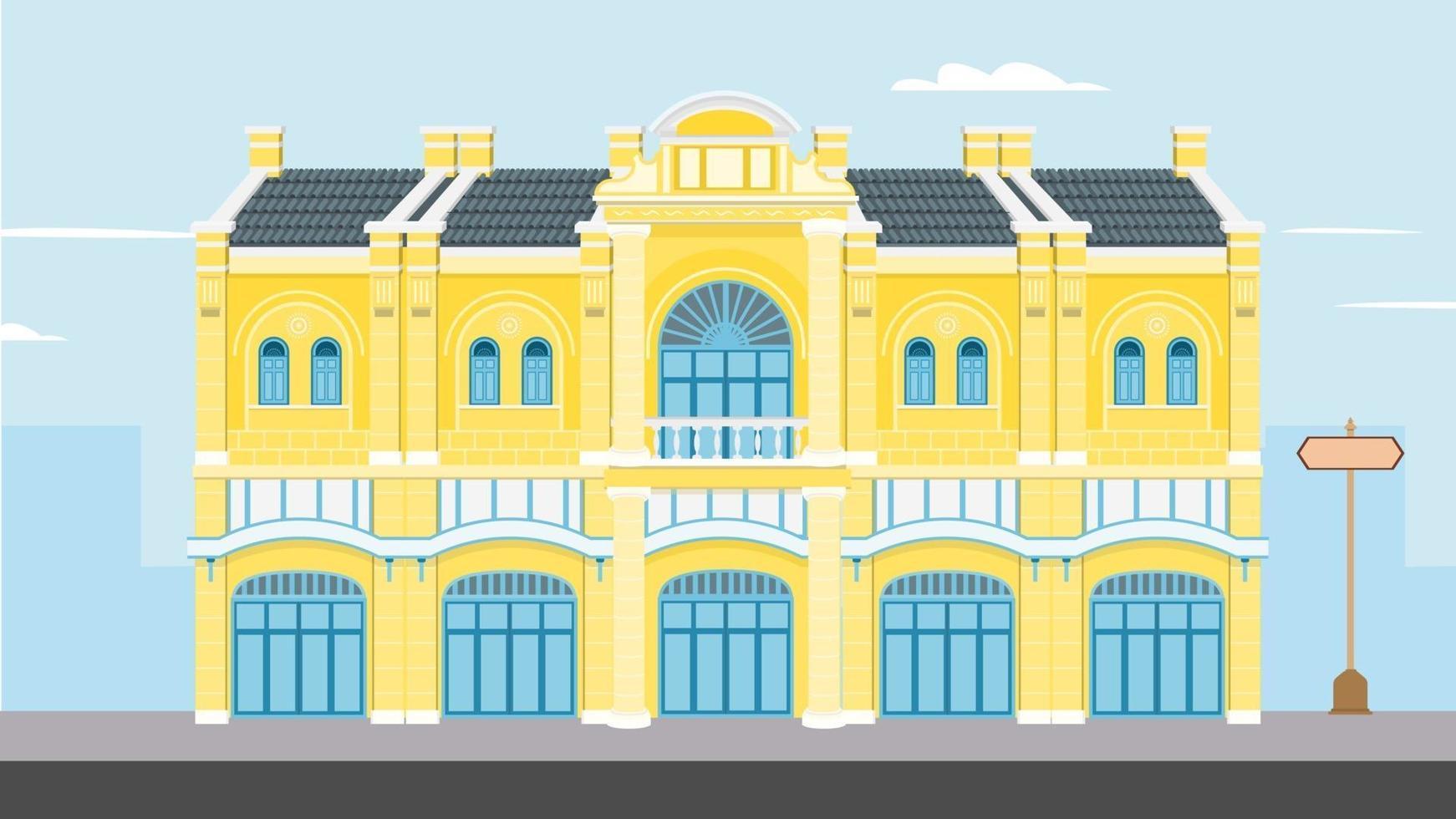 Thaise vintage gebouw vectorillustratie. overheidsgebouwen op straat plat ontwerp. oud historisch gebouw in bangkok. klassiek huis op straat met stadsachtergrond vector