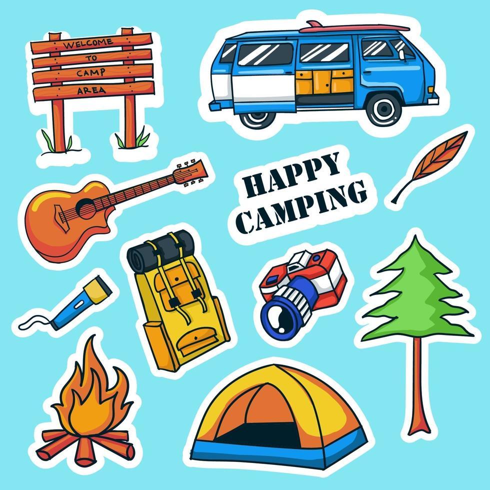 kleurrijke hand getrokken camping stickers collectie vector