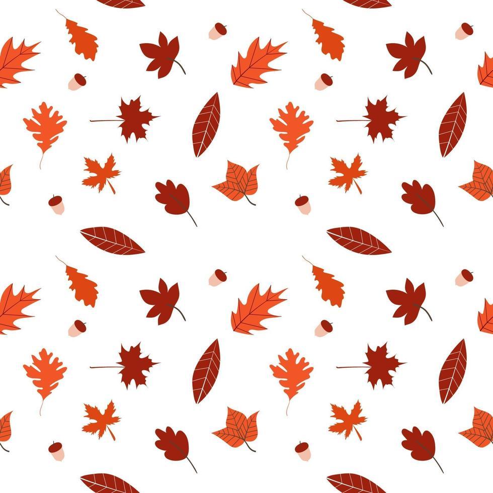 platte ontwerp herfstbladeren naadloze patroon vector