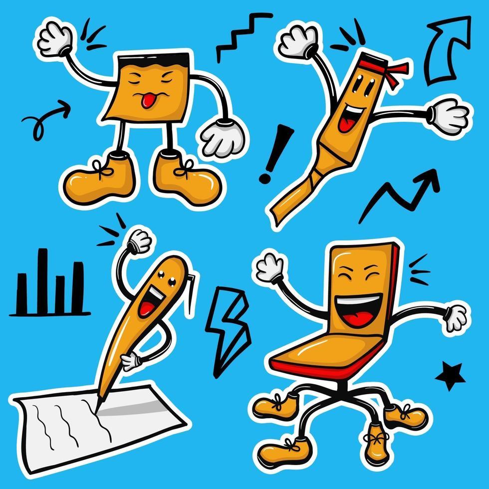 kleurrijke handgetekende office kit karakter stickers collectie vector