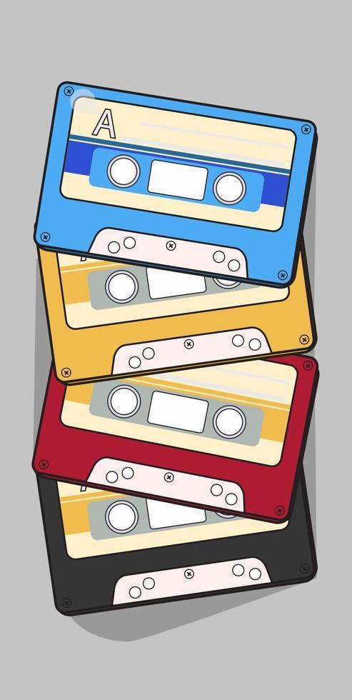 audio cassette tape geïsoleerde vector oude muziek retro speler. retro muziek audiocassette 80s lege mix.
