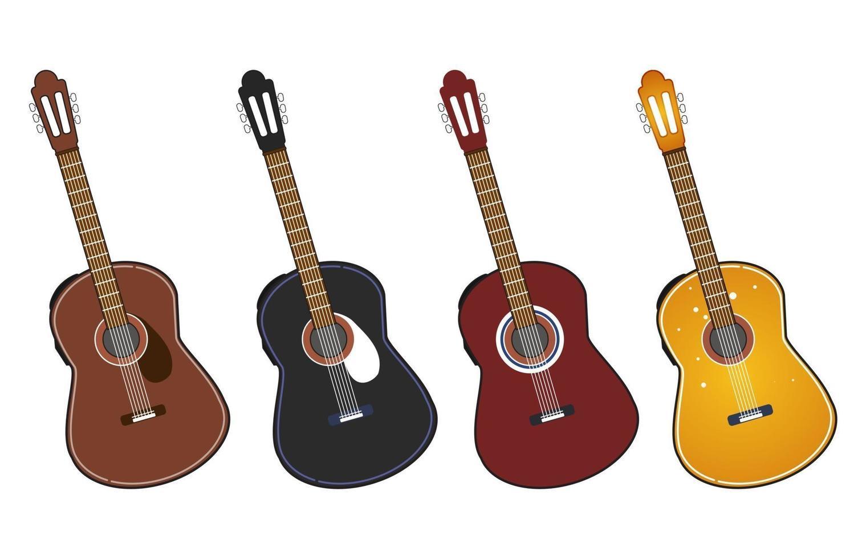 gitaar set. akoestische gitaar, elektrische gitaar en ukelele op witte achtergrond. snaarinstrument. schattige platte cartoon stijl. vector illustratie