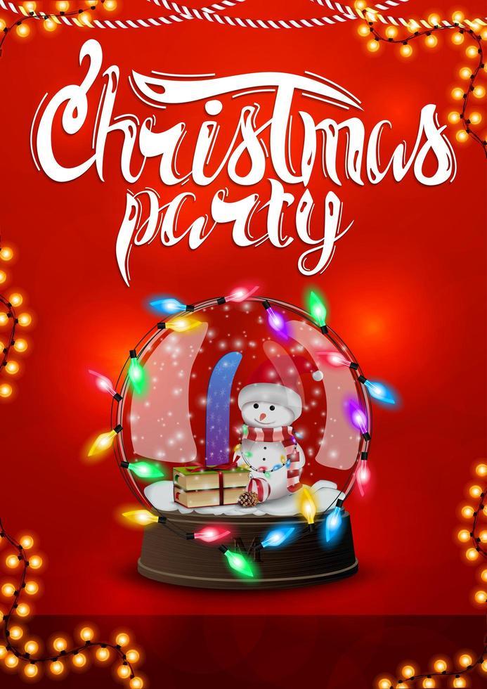 rode kerstfeest poster met slinger en sneeuwbol met sneeuwpop vector