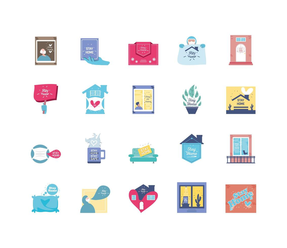 set pictogrammen voor thuisblijven-campagne, coronaviruspreventie vector