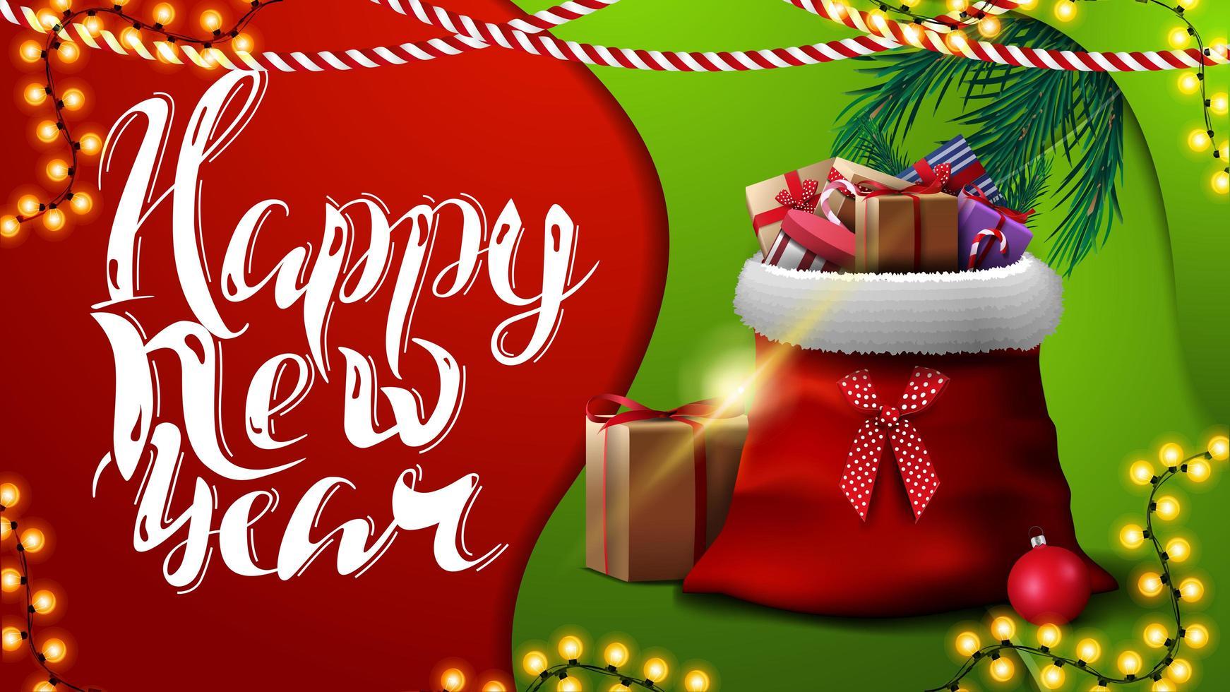 gelukkig nieuwjaar, rode en groene wenskaart in materiaalontwerpstijl met slingers en kerstmanzak met cadeautjes vector