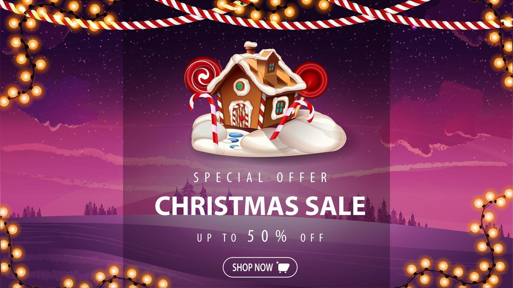 speciale aanbieding, kerstuitverkoop, tot 50 korting, mooie roze kortingsbanner met winterlandschap op achtergrond, slingers en kerst peperkoek huis vector
