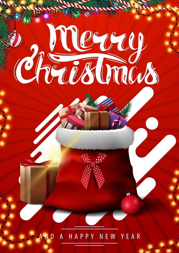 vrolijk kerstfeest, rode verticale ansichtkaart met abstracte vormen, slingers en kerstman-tas met cadeautjes vector