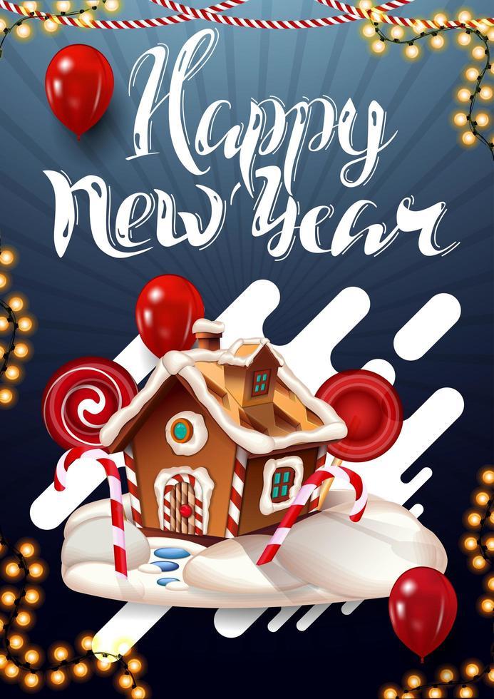 gelukkig nieuwjaar, verticale blauwe ansichtkaart met slinger, rode ballonnen en kerst peperkoek huis vector