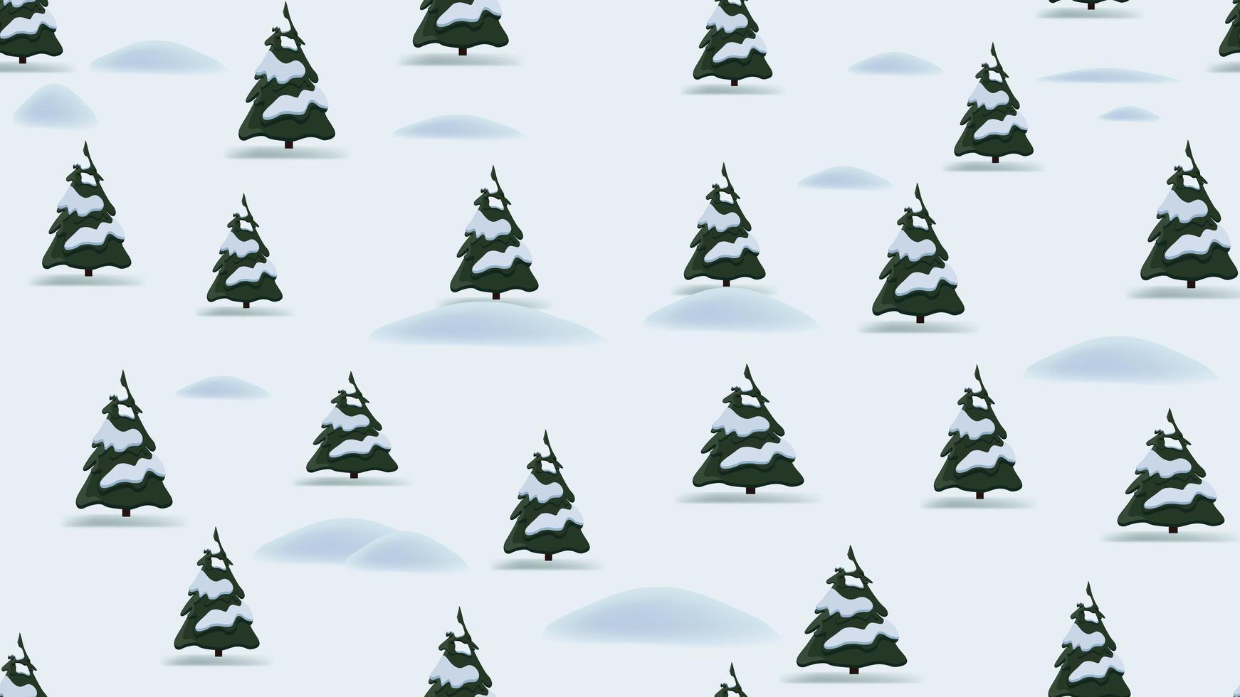 Kerst naadloze patroon met cartoon winterlandschap, dennen en drijft vector