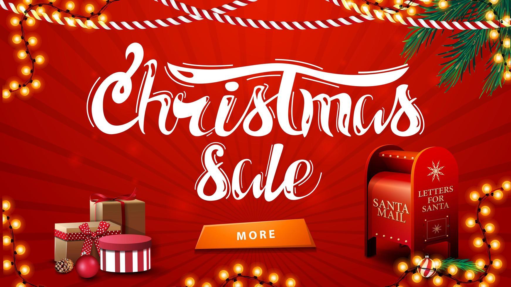 kerstuitverkoop, rode kortingsbanner met slingers, kerstboomtakken, knop, cadeautjes en kerstman brievenbus vector