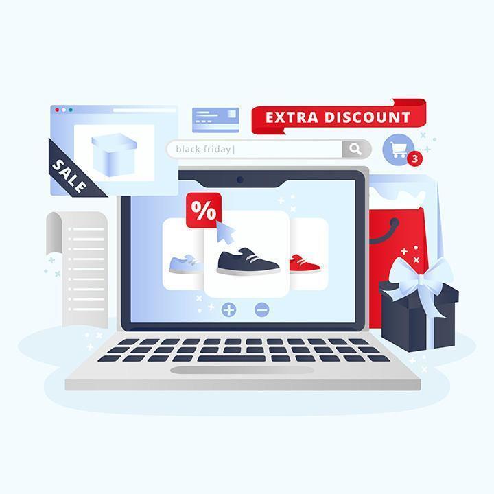 zwarte vrijdag winkelen concept illustratie vector