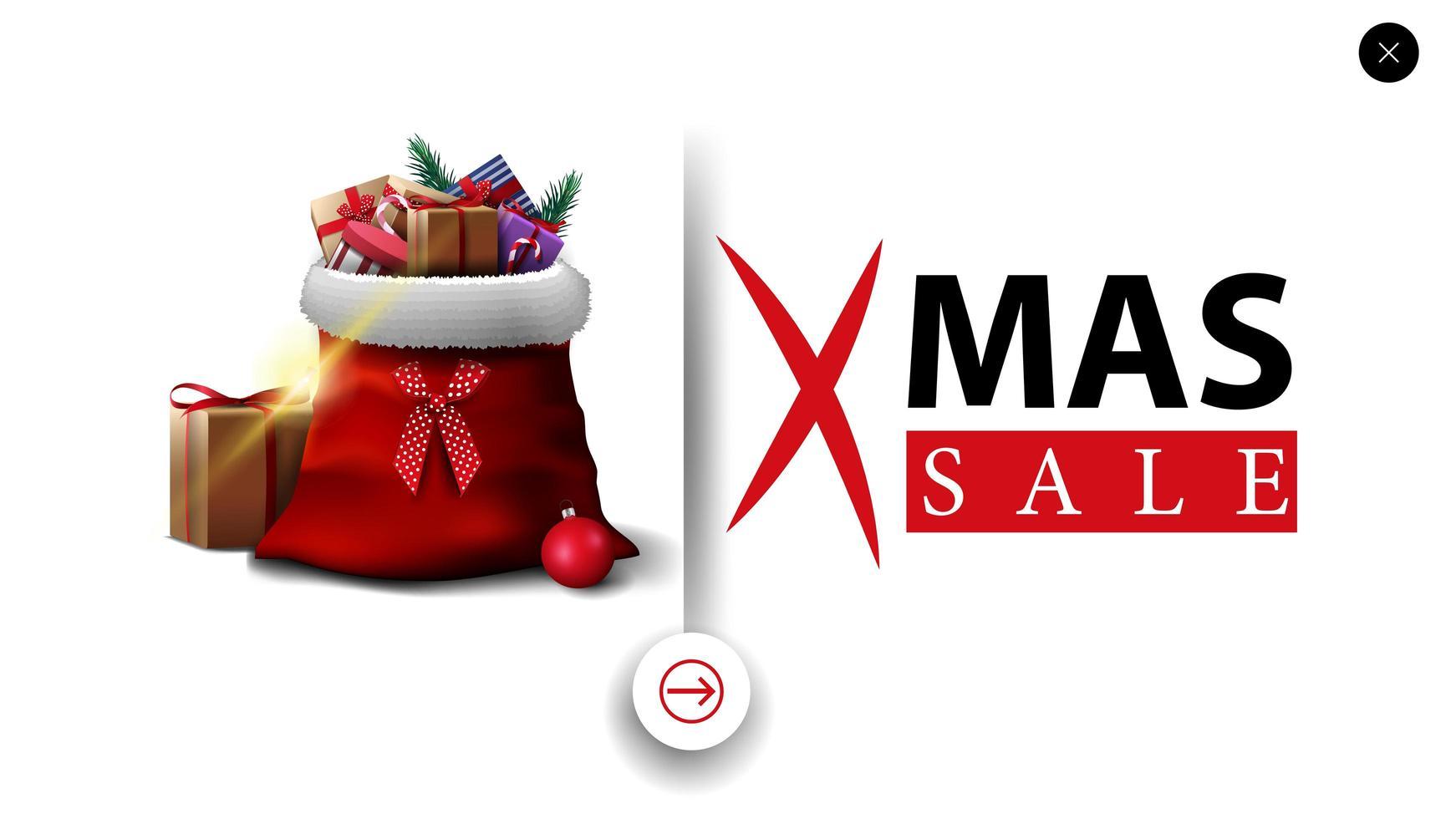 kerstuitverkoop, witte kortingsbanner in minimalistische stijl voor website met kerstman-tas met cadeautjes vector