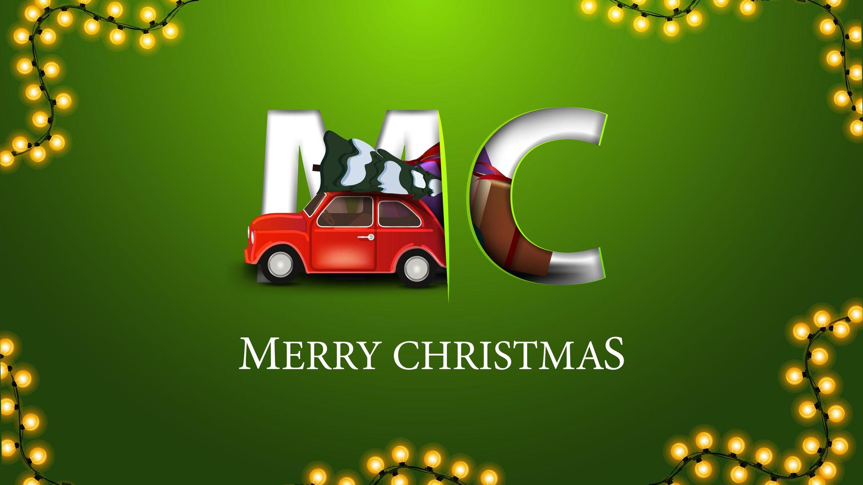 vrolijk kerstfeest, groene ansichtkaart in minimalistische stijl met rode vintage auto met kerstboom vector