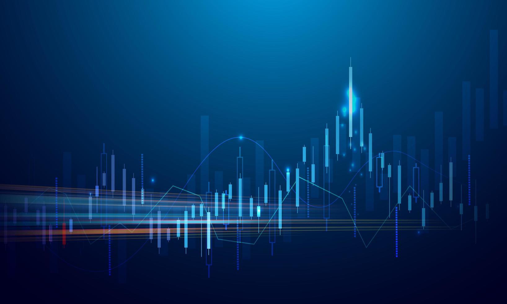 zakelijke graph-grafiek van aandelenmarktinvesteringen op blauwe achtergrond vector