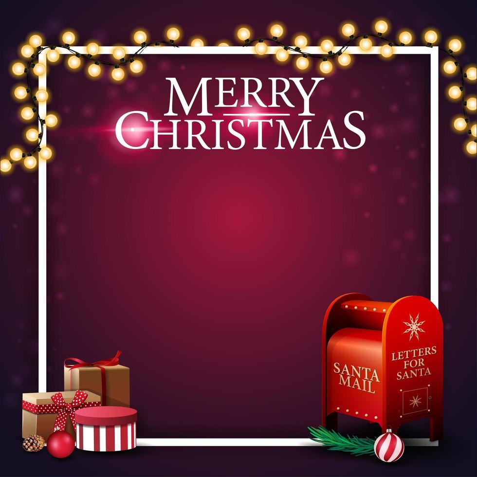 vrolijk kerstfeest, vierkant paars sjabloon voor ansichtkaart met plaats voor uw tekst, frame, slinger en santa brievenbus met cadeautjes vector
