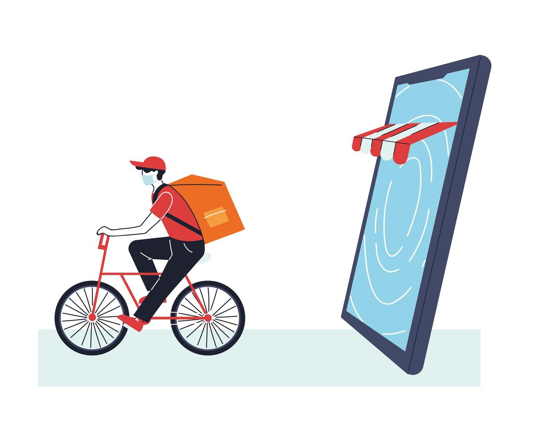 man met masker op fiets die een online bestelling levert vector