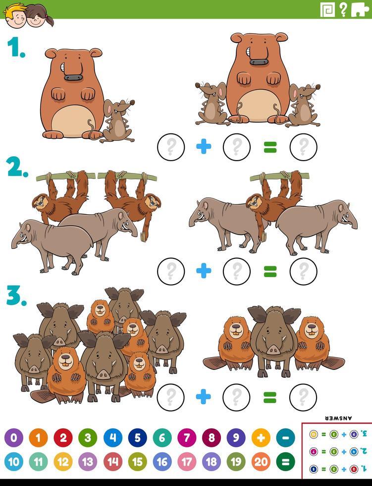 wiskunde toevoeging educatieve taak met wilde dieren vector