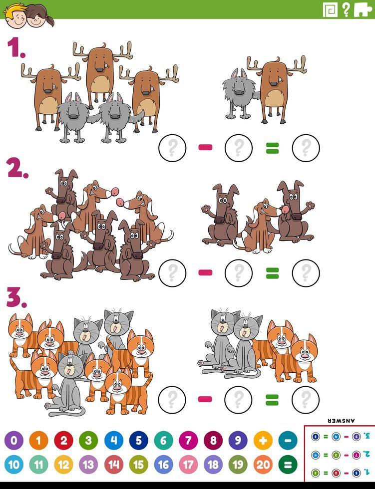 wiskunde aftrekken educatieve taak met komische dieren vector