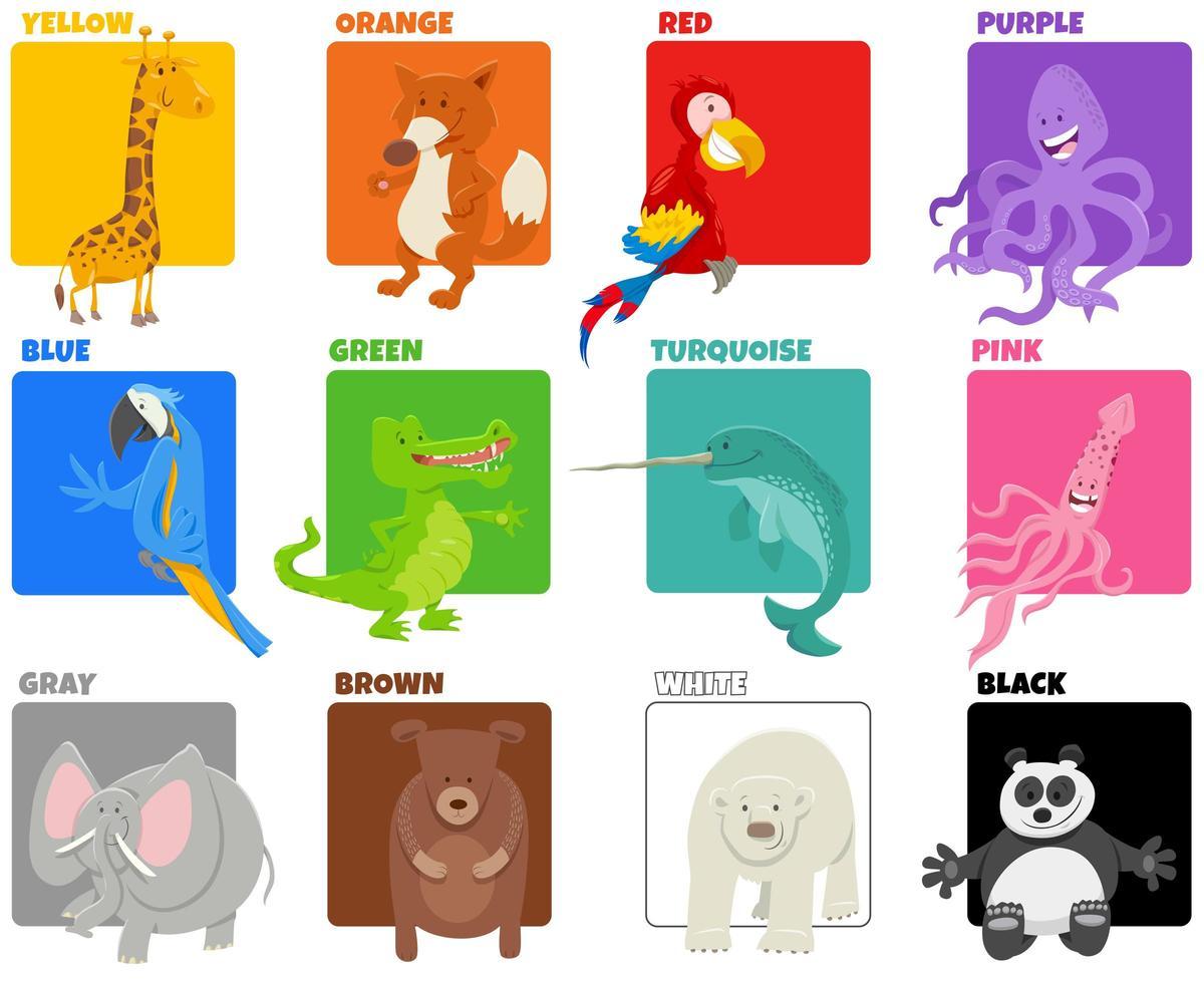 basiskleuren met grappige dierenfiguren vector