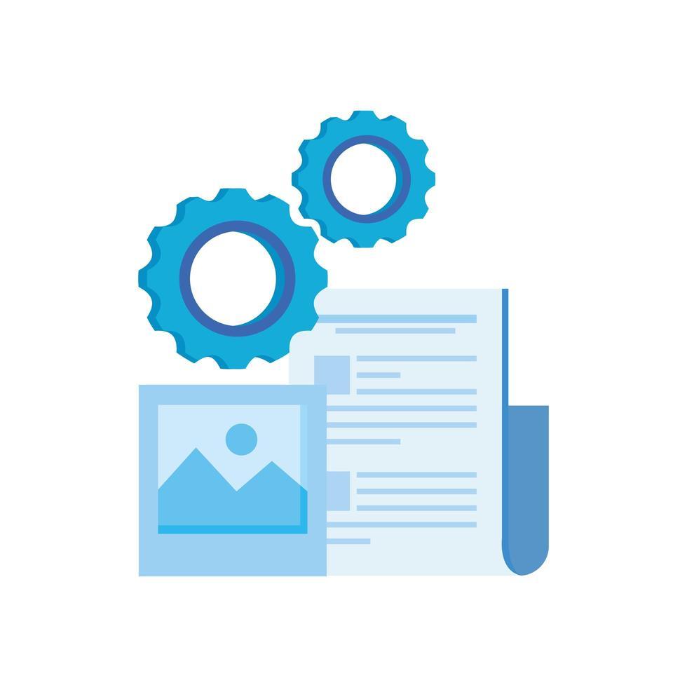 versnellingsmachine-instellingen met documentbestand vector