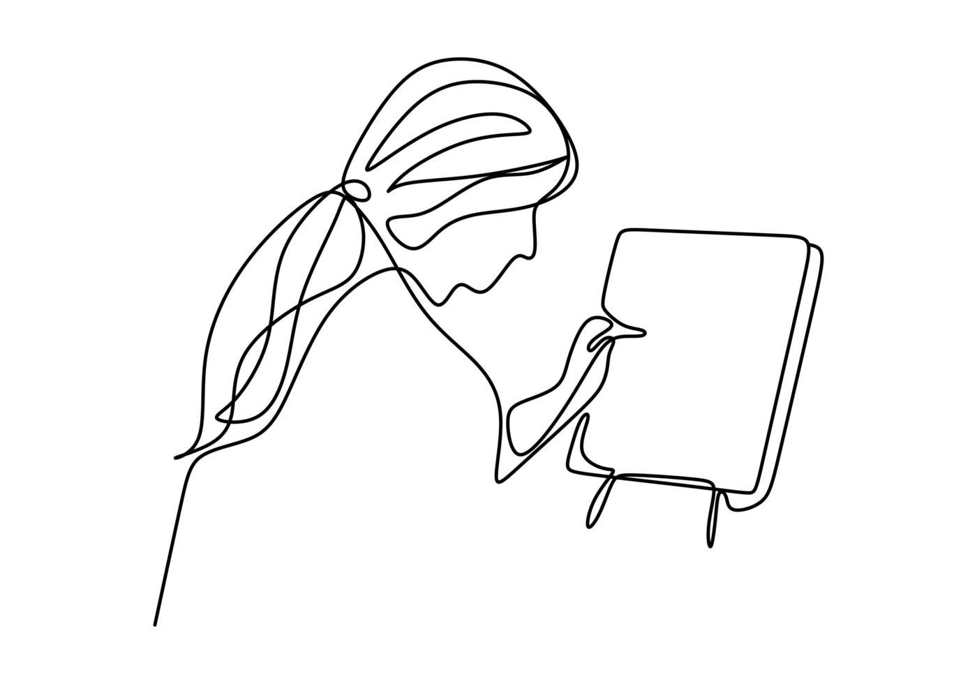 een doorlopende enkele tekening. een meisje schilderen op canvas, vector illustratie, geïsoleerd op een witte achtergrond.