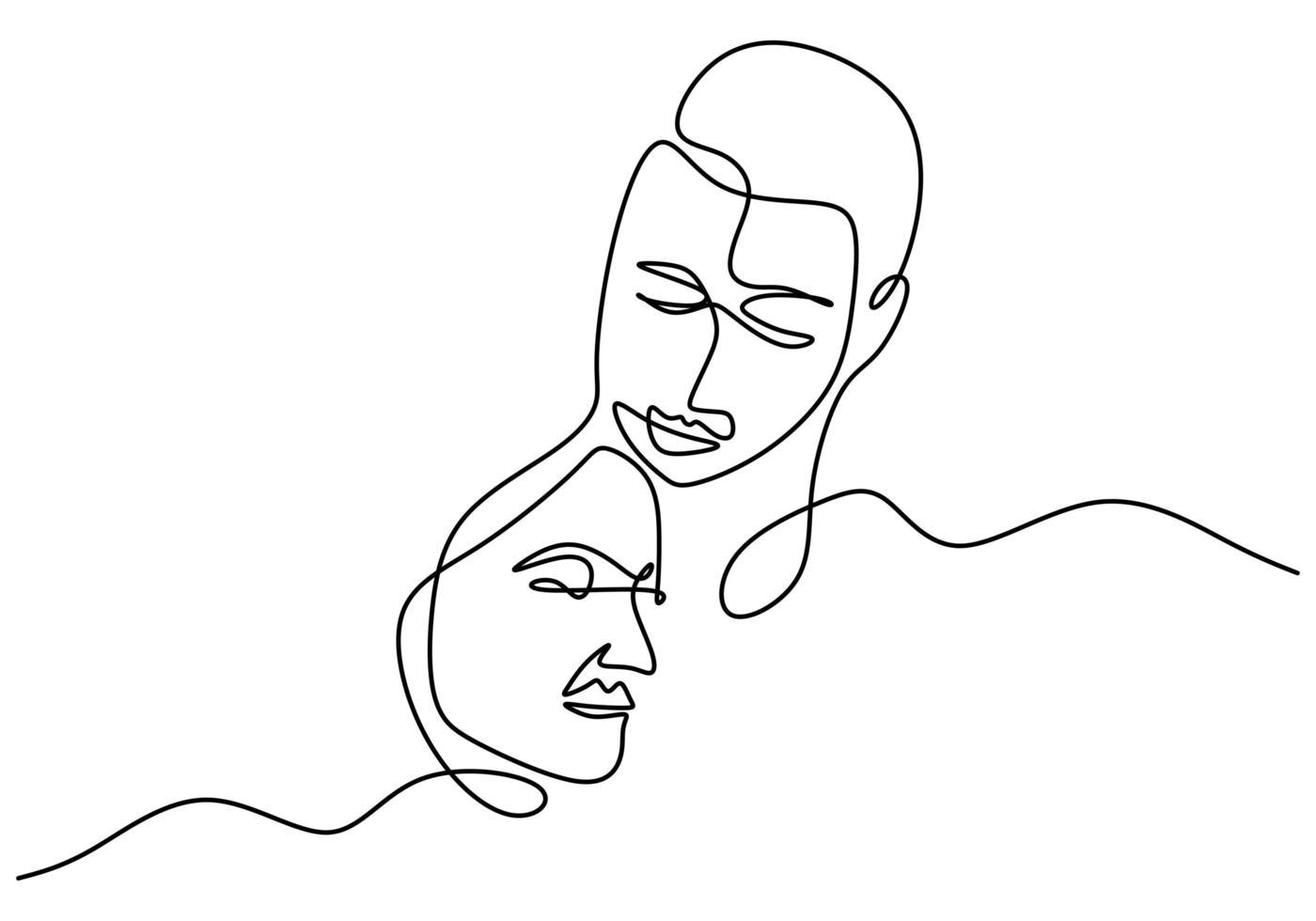 doorlopende lijntekening. romantisch koppel. liefhebbers thema conceptontwerp. minimalisme emotionele hand getekend van man en meisje. goed voor Valentijnsdag kaart, spandoek en poster. vector