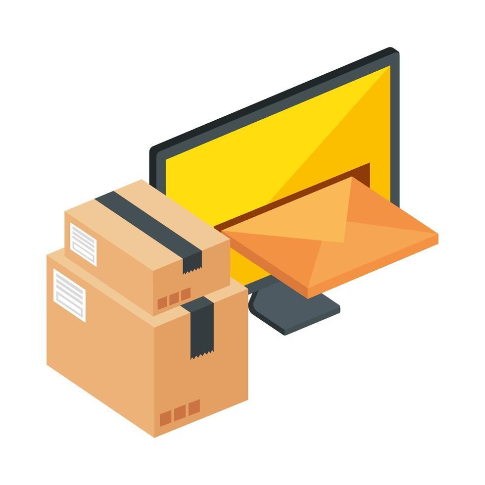 computer met envelop en dozenpakketten vector