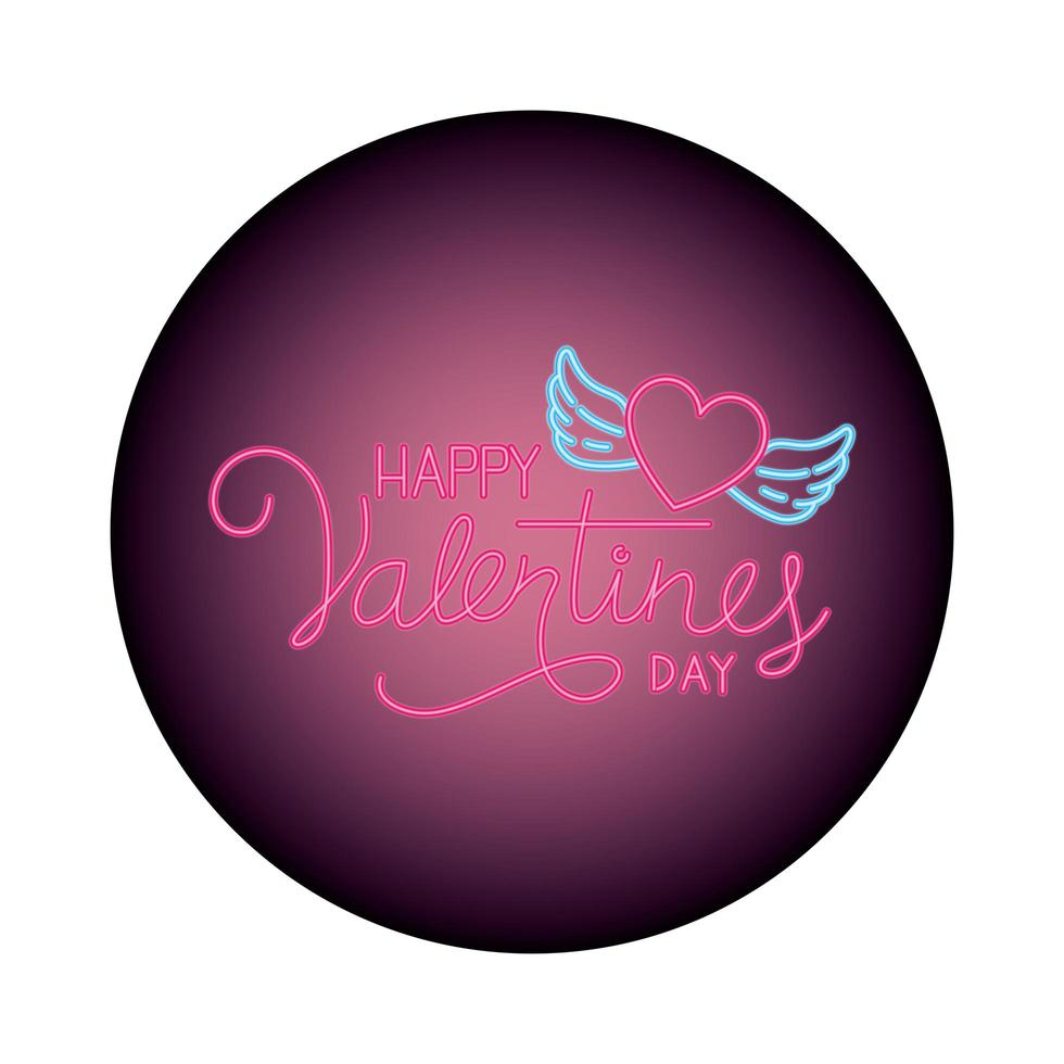 happy Valentijnsdag label in neonlicht vector