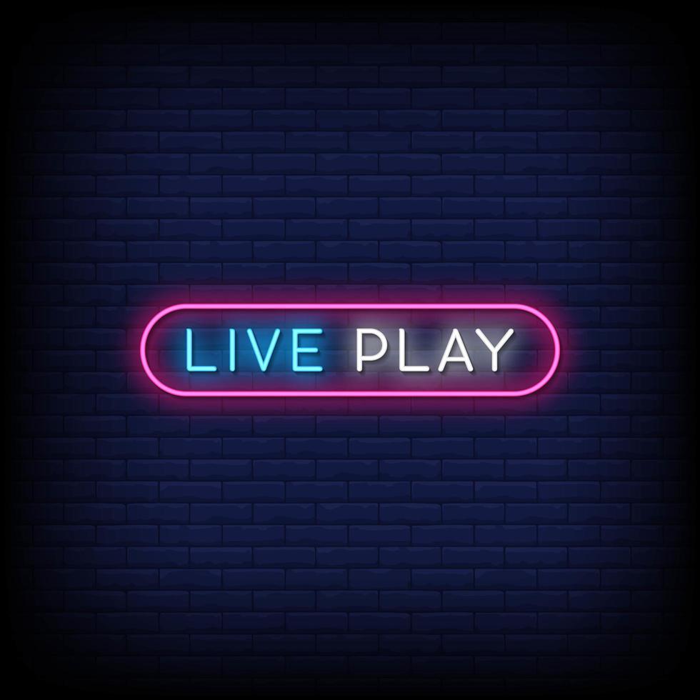 live spelen neonreclames stijl tekst vector