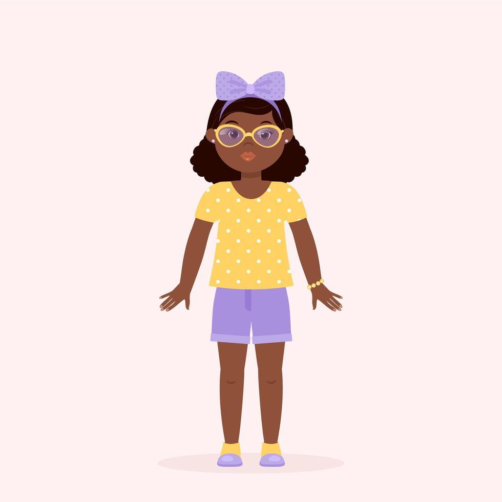 klein zwart meisje karakter met gele bril vector