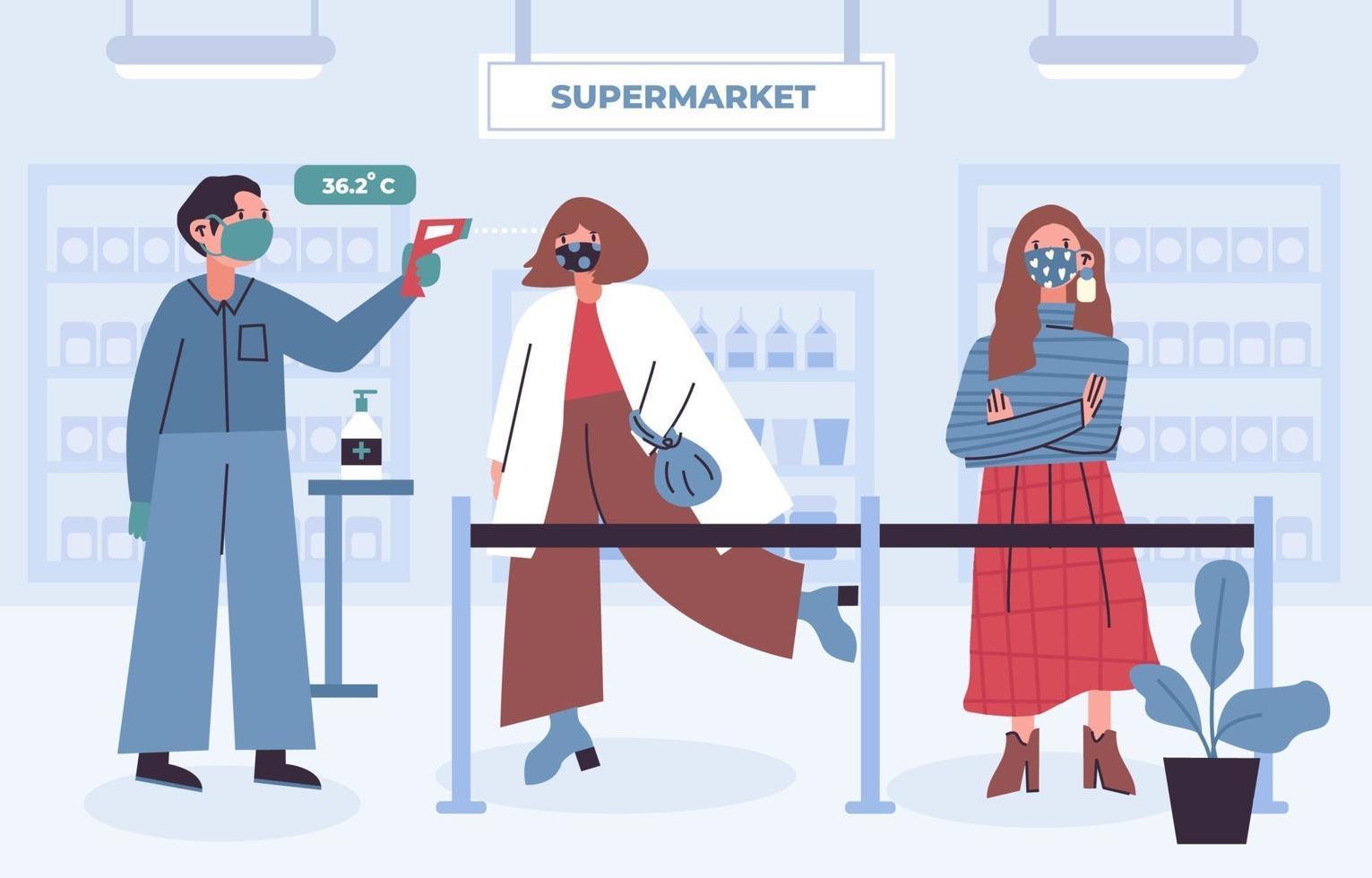 nieuw normaal protocol bij supermarkt vector