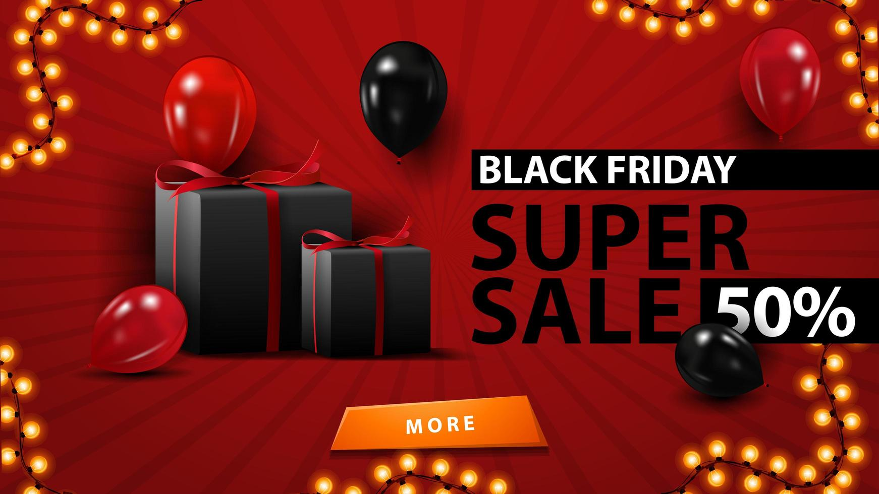 zwarte vrijdag superverkoop, tot 50 korting, creatieve rode sjabloon in minimalistische moderne stijl met ballonnen en geschenken. vector