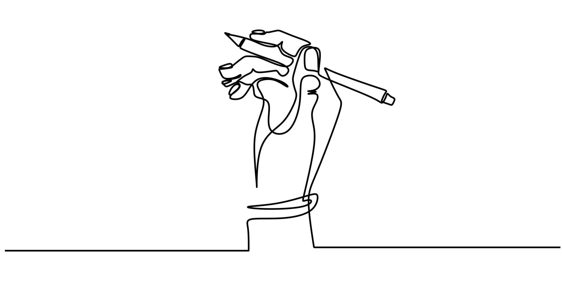 een lijntekening van hand met een pen die op papier schrijft. minimalisme doorlopende schets vectorillustratie, eenvoud ontwerpstijl. vector